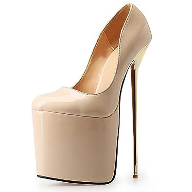 596b10187 Leeminus Women's Leather Platform Pump Shoes 22cm High Heels Beige 9 B(M) US