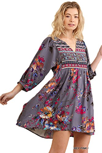 Umgee Women's Bohemian Tunic or Dress (M, Grey Combo) 51NXjvktl4L