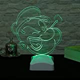 Table Lamp, Popeye Cartoon Pipe Green Neon 3D Led Night Minimalist Solid Metal Table Lamp Bedside Desk Lamp for Bedroom, Dresser, Living Room, Kids Room, College Dorm