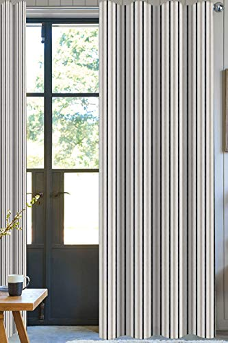 (A1 Home Collections Drape Bryson Stripe Designer Drapery Panel Set of 2, Brown | 100% Organic Cotton | 2in 1 Construction Rod Pocket with Hidden Tab, 50