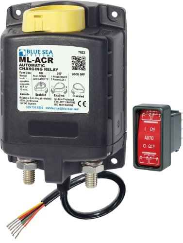 Blue Sea Systems Battery Switch (Blue Sea Systems ML-ACR 12V DC 500A Automatic Charging Relay with Manual Control)