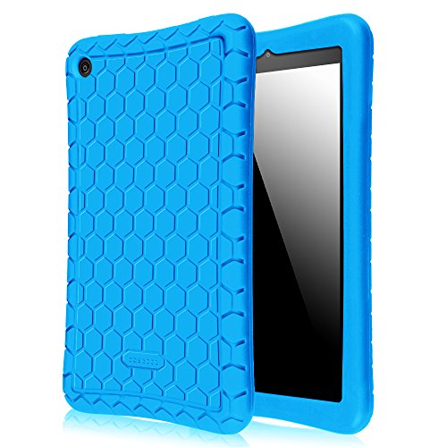 Fintie Silicone Case for Amazon All-New Fire HD 8 - [Honey Comb Series] Light Weight [Anti Slip] Shock Proof Silicone Protective Cover [Kids Friendly] for Fire HD 8 Tablet (2016 6th Gen Only), Blue (Tablet Covers For Kids compare prices)
