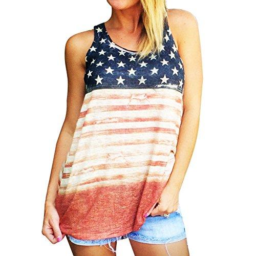 Pongfunsy Women Vest Women Causal Print American Flag Sleeveless Blouse Summer Plus SizeTank Tops Loose T-Shirt (L, Multicolor)
