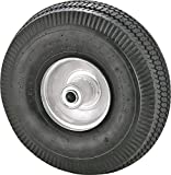 "Rocky Mountain Goods Replacement Tire 4.10/3.50-4"" - Tire for Hand Truck, Cart, Dolly, Gorilla Cart - 2.25"" Offset Hub with Pneumatic 5/8"" Ball Bearing - Sawtooth Tread - 400 lb. load capacity"