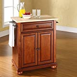 Crosley Furniture Alexandria Natural Wood Top Portable Kitchen Island in Classic Cherry Finish