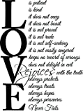 (23×31) Love is patient love is kind 1 Corinthians 13:4-7. Vinyl Wall Decal Decor Quotes Sayings Inspirational wall Art