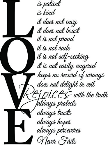 - Ideogram Designs (23x31) Love is Patient Love is Kind 1 Corinthians 13:4-7. Vinyl Wall Decal Decor Quotes Sayings Inspirational Wall Art
