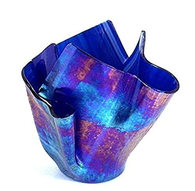 Vase Candle - Cobalt Blue Wispy Iridized Draped Refillable Glass Vase with Free Spring Rain Scented, Soy, Paraffin Wax Blend, Paper Core, Self-trimming Wick Candle, Free Shipping