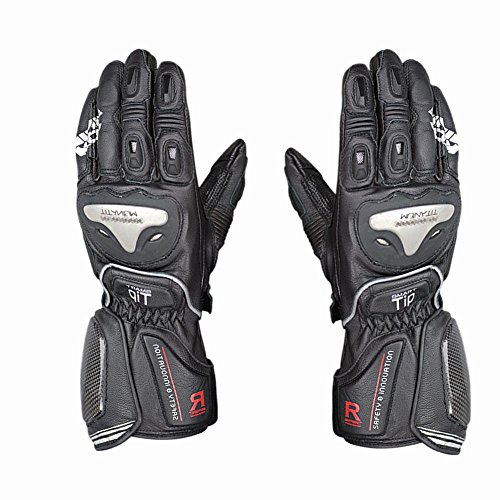 (TLMYDD Motorcycle Locomotive Leather Titanium Long Riding Racing Gloves, A Variety of Colors Gloves (Color : Black and Yellow, Size : M))