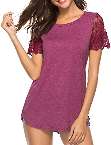 Koitmy Women's Lace Short Sleeve Round Neck T-Shirt Casual Blouse Tunics Tops -