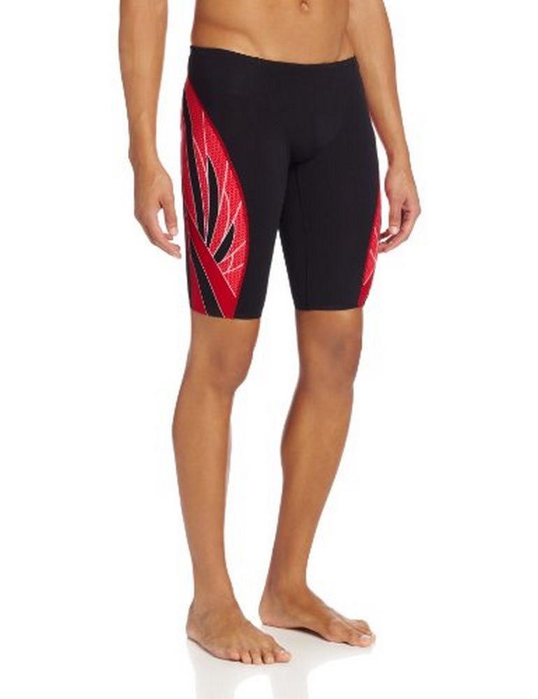 TYR Mens Phoenix Splice Jammer Swimsuit, Black/RED, 32