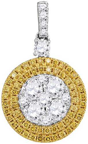 18K White Gold Canary Yellow Diamond Circle Dangle Necklace Pendant 1-3/4 Ctw.