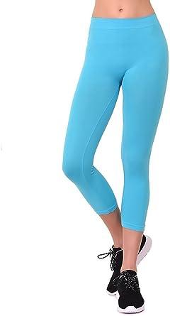 "Mopas Women/'s Black Nylon /& Spandex 12/"" Short Active Ribbed Waist Leggings Pants"