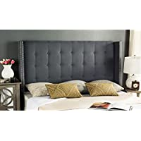 Safavieh Mercer Collection Keegan Grey Velvet Tufted Winged Headboard (Full)