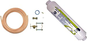 Whirlpool 8003RP 15-Feet Copper Tubing Icemaker Hook Up Kit & LASCO 37-1821 Ice Maker Inline Filter with 1/4-Inch Compression Connection, 2-Inch x 10-Inch