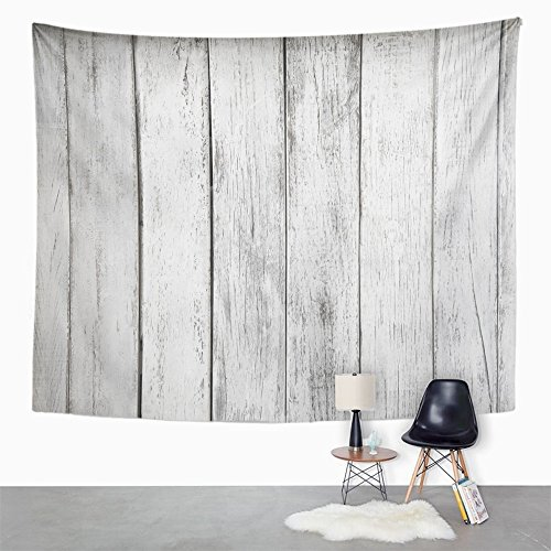 Emvency Tapestry Gray Rustic White Plank Wood Table Abstract Aged Architecture Board Building Home Decor Wall Hanging 60'' x 80'' Inches Print for Living Room Bedroom Dorm by Emvency (Image #2)