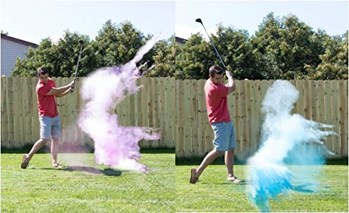 Gender Reveal Exploding Golf Balls Set 1 Pink & 1 Blue Tee Included Great Party Idea or Gift to Announce Sex of Baby Non Toxic (Gender Reveal Party Food Ideas)