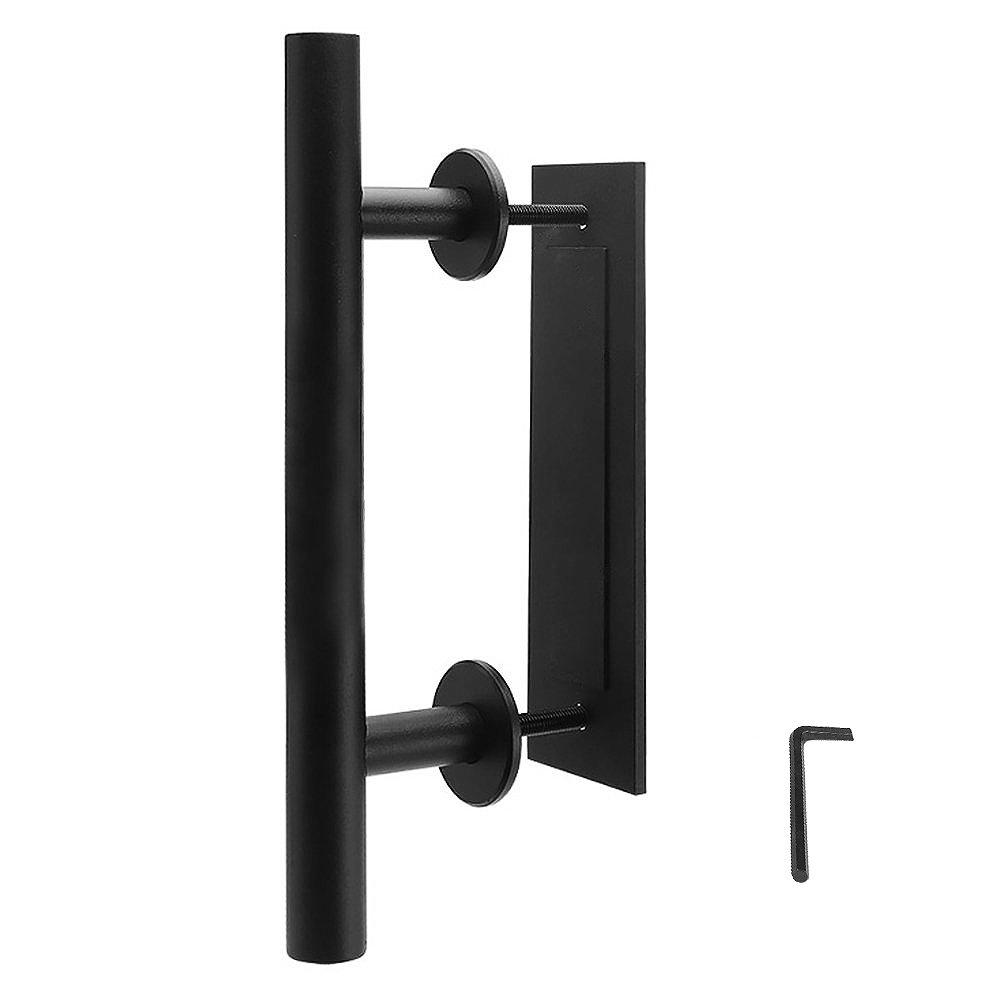 TMS 12'' Frosted Black Pull and Flush Two-Side Door Handle Set Modern Sliding Barn Door Hardware Handle