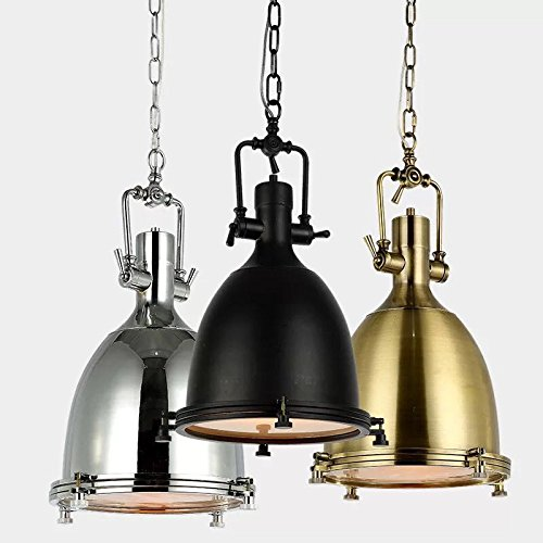 BrightLyf Vintage Industrial Nautical Style Pendant Light, Minimalism Pendant Lamp 14.17'' Wide Adjustable Chain Ceiling Lighting Chandelier with Frosted Diffuser Mounted Fixture in Black Finish