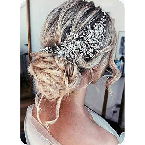 Catery Flower Bride Wedding Headband Silver Crystal Pearl Hair Vine Braid Headpiece Bridal Hair Accessories for Women (Silver)