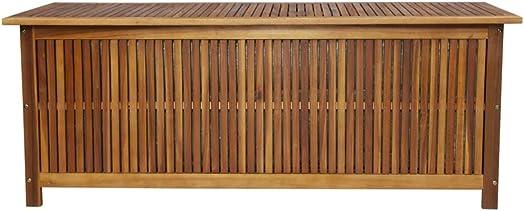 Festnight Outdoor Storage Bench Acacia Wood Garden Deck Box Storage Container Patio Backyard Poolside Balcony Furniture Decor 59″ x 19.7″ x 22.8″ W x D x H