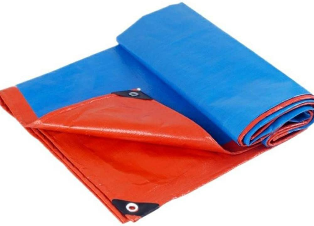 WTTO PVC Lona de Protección, Heavy Duty Impermeable Lona con Ojales Fácil de Plegar Espesar Bordes Reforzados Lona Impermeable para Camión, Remolque, Bote, Piscina,Blue/Orange_6x3ft/2x1m