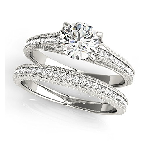 14K White Gold Unique Wedding Diamond Bridal Set Style MT51066