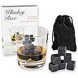WHISKEY ROX - BLACK WHISKEY STONES (Set of 9) - Natural Polished Black Granite Stone - Reusable Scotch Rocks - Premium Whisky Chilling Cubes - Better Than Ice - Gift Box - BONUS: Black Velvet Pouch