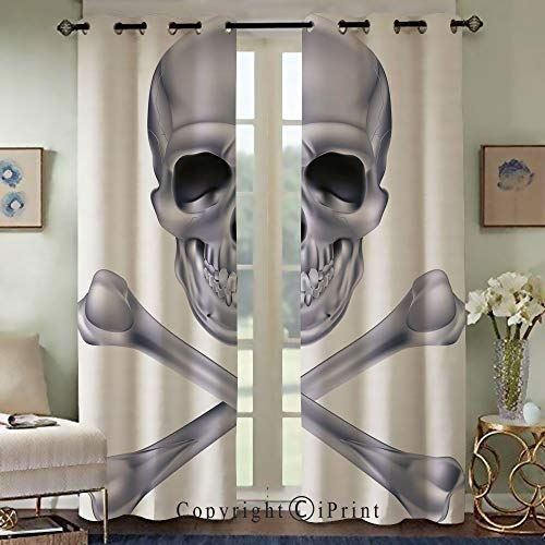 RWNFA Bedroom Living Room Curtain,Exquisite Curtain,Vivid Skull and Crossbones Dangerous Scary Dead Skeleton Evil Face Halloween Theme Decorative,Set of 2 Panels(42