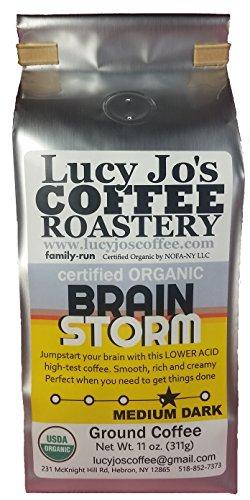 Lucy Jo's Coffee, Organic Brainstorm, Low Acid, Ground 11 oz (Organic Low Acid Coffee)