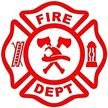 2 DIE Cut Vinyl Decal Fire Dept Maltese cross firefighter sticker Decal USA
