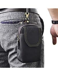 Le'aokuu Mens Genuine Leather Small Hook Fanny Waist Bag Hip Bum Pouch Belt Pack (the black)