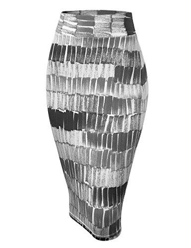 WB1304 Womens Print Midi Pencil Skirt XXL Black_Grey