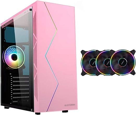WSNBB Casos Gaming Rosa, Semitorre ATX/M-ATX/ITX Caja De La Computadora PC For Juegos, Laterales Transparentes, USB3.0, Llevar Barra De Luz RGB, Configurar Los Aficionados Círculo De Color 3: Amazon.es: Hogar