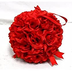 "7"" Roses Kissing Ball RED Wedding Christmas Pew Bow Silk Flowers Girl Pomander Kissing Ball Decor 1Pcs"