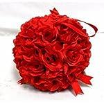 7-Roses-Kissing-Ball-RED-Wedding-Christmas-Pew-Bow-Silk-Flowers-Girl-Pomander-Kissing-Ball-Decor-1Pcs