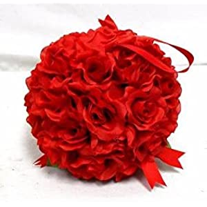 "7"" Roses Kissing Ball RED Wedding Christmas Pew Bow Silk Flowers Girl Pomander Kissing Ball Decor 1Pcs 22"