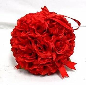 Amazon 7 roses kissing ball red wedding christmas pew bow silk 7quot roses kissing ball red wedding christmas pew bow silk flowers girl pomander kissing ball mightylinksfo Choice Image