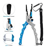 Wolfyok Aluminum Fishing Pliers, Stainless Steel Hook Removers Pliers, Rustproof Saltwater Split Ring Tool & Braid Line Cutters with Sheath and Lanyard