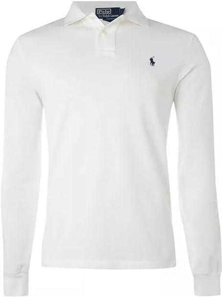 Ralph Lauren Polo - Camiseta de manga larga, azul marino, negro y blanco, rojo y gris, algodón, Blanco, small: Amazon.es: Hogar