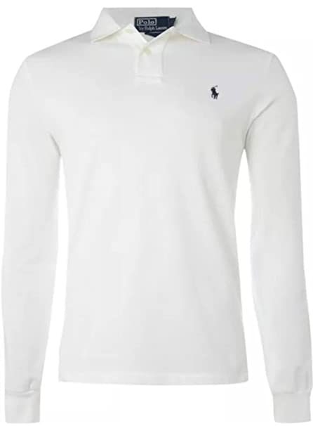 7d6a9206 Ralph Lauren Polo Long Sleeve Shirt Top Men's Custom Fit Solid Mesh White  Black Navy Red Grey (White, S): Amazon.co.uk: Kitchen & Home