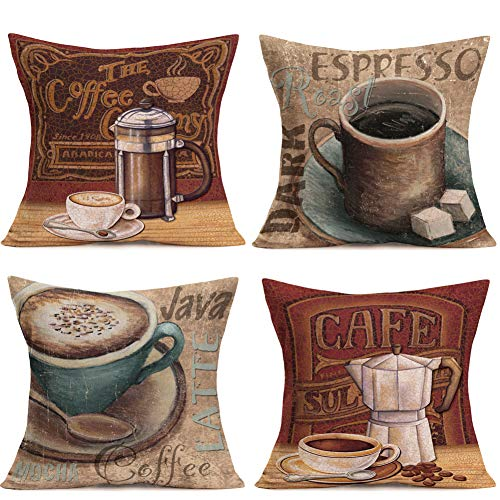 Hopyeer Oil Painting Retro Throw Pillow Cover Coffee Theme Decorative Java Coffee Cup Words Design Pillow Case Home Decor Square 18x18 Inches Cushion Cover for Home Sofa Office, Set-4 (Coffee Set) (Coffee Cups Hd Design)