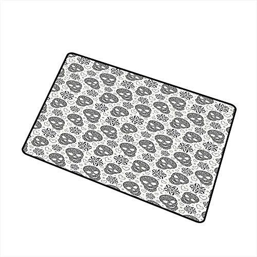 (Mdxizc Bedroom Doormat Skulls Decorations Abstract Floral Skulls and Daisies Hearts Illustration Print W24 xL35)