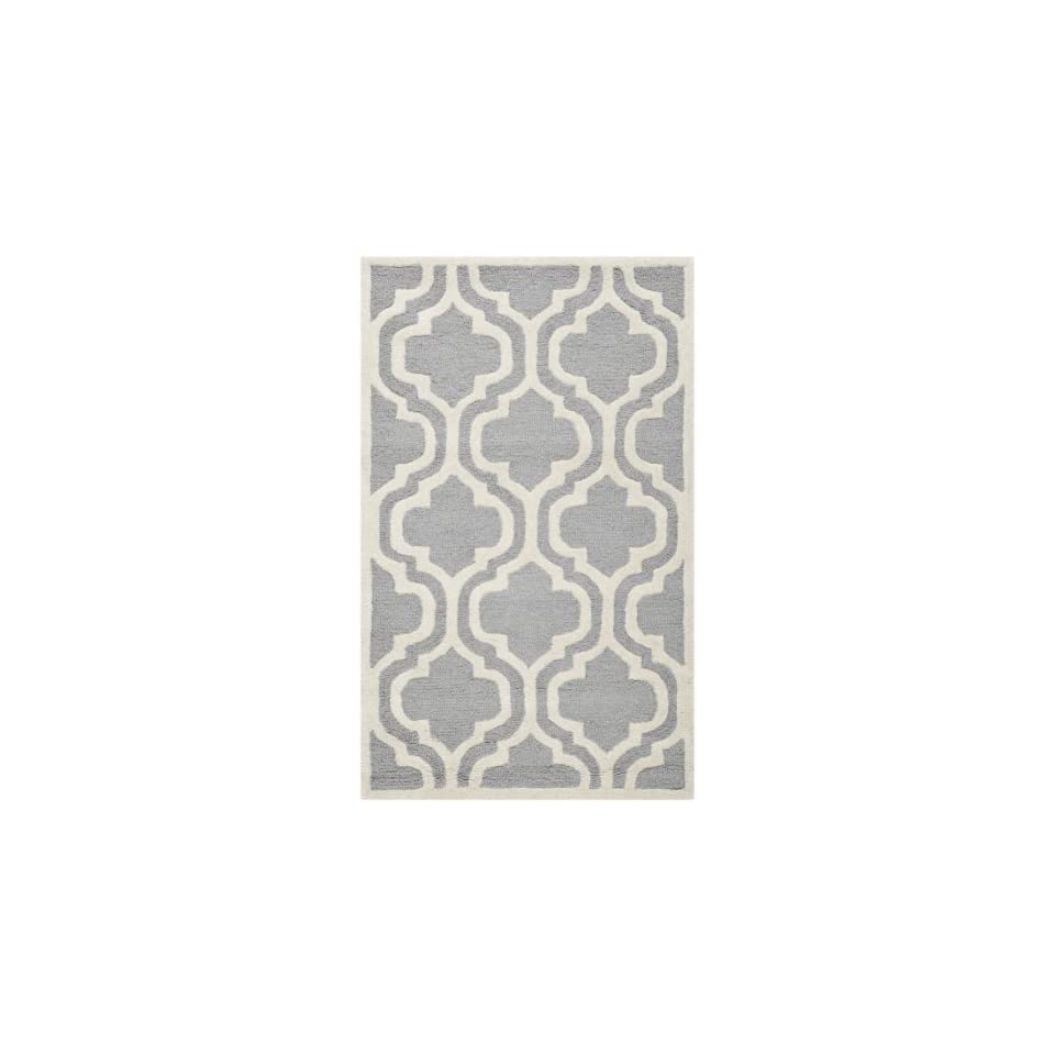 Safavieh Cambridge Collection CAM132D Handmade Moroccan Geometric Silver and Ivory Premium Wool Area Rug (4 x 6)