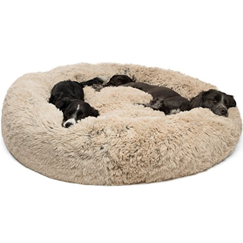 Best Friends by Sheri Calming Shag Vegan Fur Donut Cuddler (45x45, Zippered) - XL Round Donut Cat and Dog Cushion Bed, Removable Shell, Warming and Cozy for Improved Sleep - Prime, Pets Up to 150 lbs (Orthopedic Double Bed Pet)