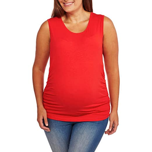 b066287bd40 Oh! Mamma Maternity Basic Tank With Side Ruching- Available In Plus Size (L