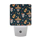 Naanle Set of 2 Mexican Sugar Skull with Guitar Chili Pepper Cross Bone On Navy Blue Auto Sensor LED Dusk to Dawn Night Light Plug in Indoor for Adults