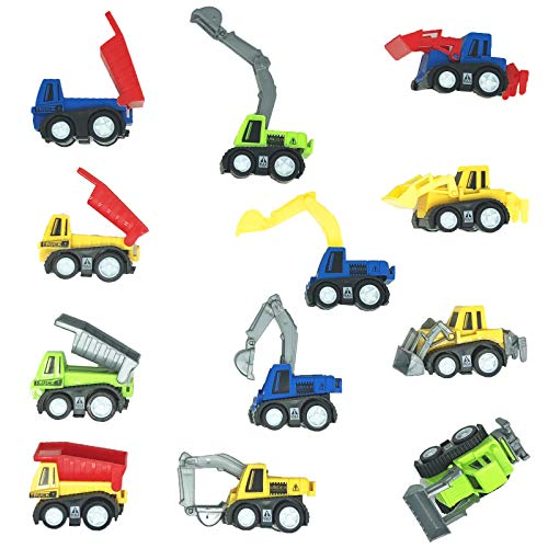 GIFTEXPRESS® 1dz Mini Pull back Construction toy cars - Educational Preschool Bulldoze Excavator Dump Truck Model Kit for Children Toddlers Kids, For Boys Party Favors, Birthday Game goodie bag classroom Reward -