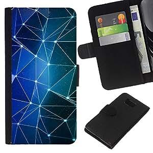 KLONGSHOP // Tirón de la caja Cartera de cuero con ranuras para tarjetas - Formas de las estrellas azules Luces Noche - Samsung ALPHA G850 //
