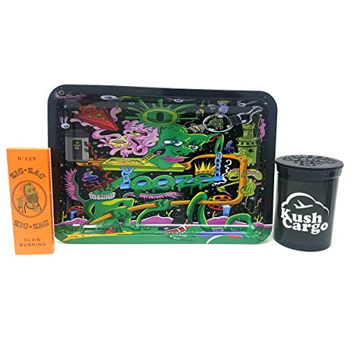 Bundle - 3 Items - Ooze Small Rolling Black Design Tray with Zig Zag Rolling (Custom Rolling Papers)